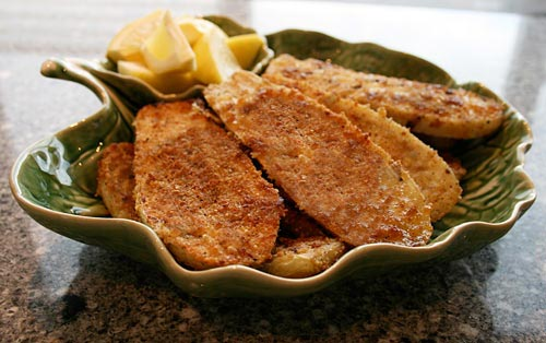 Golden brown and crisp wedges of eggplant deliciousness.