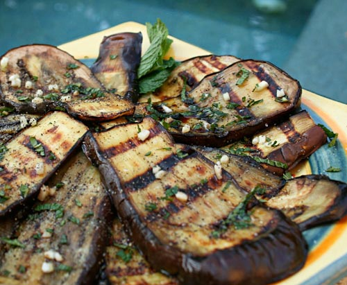 Mint is the perfect herb to enhance the earthy flavor of grilled eggplant.