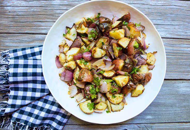 This grilled potato salad has a vinaigrette dressing making it much lighter than most mayonnaise dressed salads.