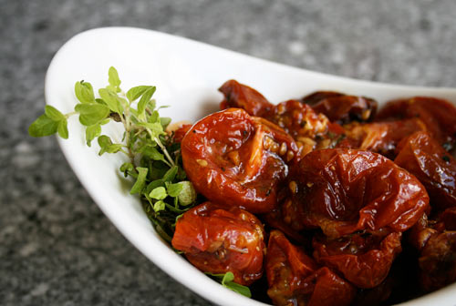 Roasting tomatoes in this fashion caramelizes them bringing out their natural sweetness.
