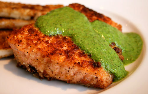 The piquant sauce is a perfect accompaniment to meaty salmon fillets.