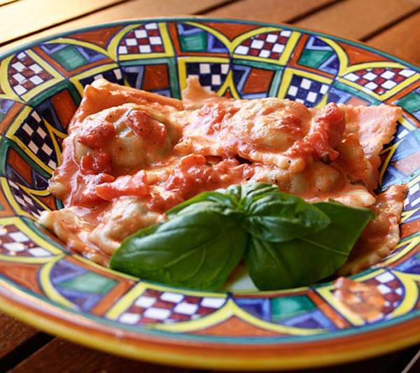 Sausage Spinach Ravioli With Tomato
