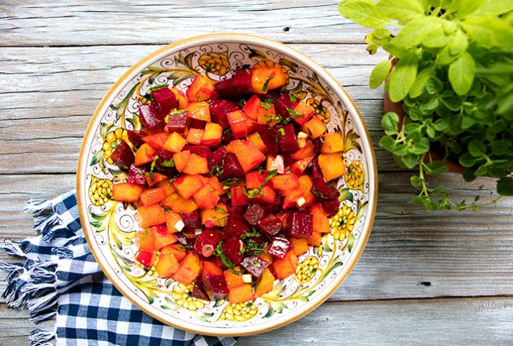 Roasting beets brings out their natural sweetness in this salad that would be a great summer side dish.