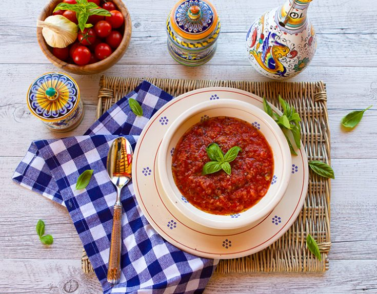 A traditional Tuscan soup made with tomatoes and thickened with bread.
