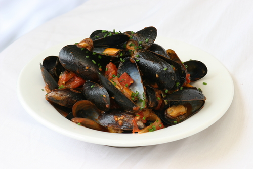 A simple saute of mussels.