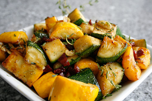 Fresh summer squash just needs a little pancetta and fresh thyme to make it sing.