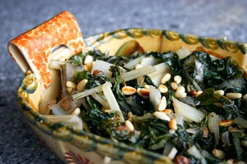 Raisins and pine nuts add a unique flavor to swiss chard.