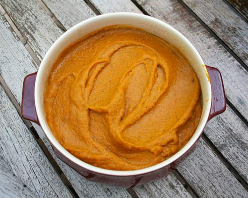 This pureed vegetable dish combines squash, carrots, and onions with a number of holiday seasonings.