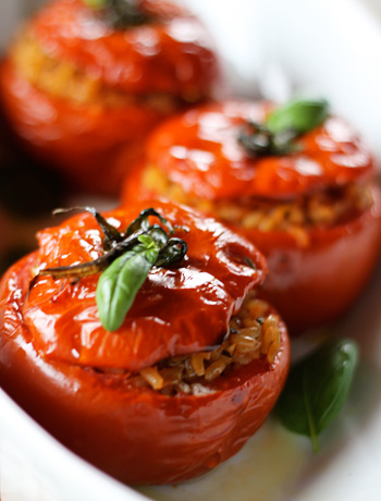 These rice stuffed tomatoes are great warm or at room temperature.