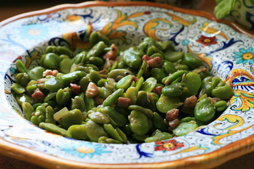 Garlic and pancetta add a new dimension to the simple fava bean.