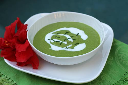The addition of peas helps keep this soup vibrant in color and flavor.