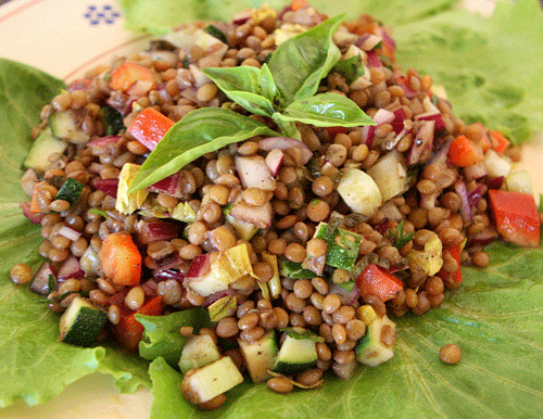 A healthy high fiber salad with lots of crunch.