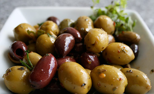 These seasoned olives are a staple in our house.