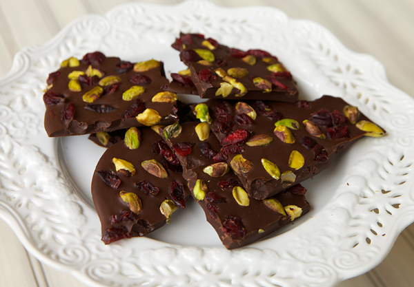 Dark Chocolate Bark With Cranberries & Pistachios ...