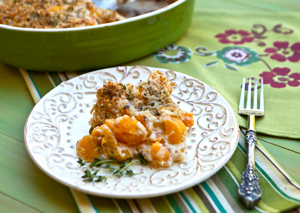 Creamy squash dish topped with a cheesy crumb crust.