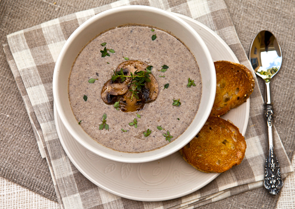 A creamy soup full of mushroom flavor with minimal added fat.