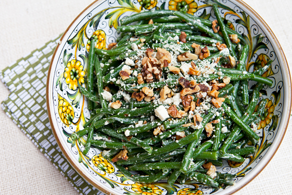 Green beans become an elegant side dish when blue cheese crumbles and toasted walnuts are added.