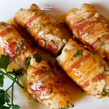 Pancetta Wrapped Stuffed Chicken Cutlets