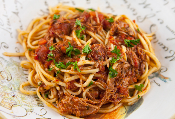 A hearty, meaty ragu cooked slowly for hours in the slow cooker.
