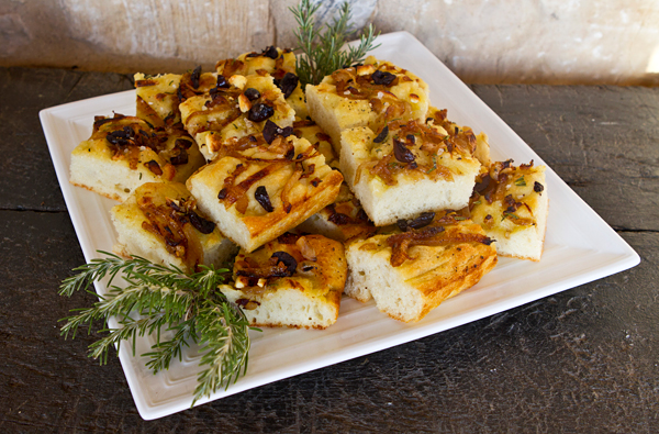 Potato Focaccia With Caramelized Onions, Olives & Rosemary ...