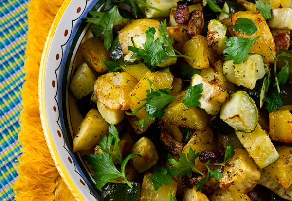 Roasted Potatoes, Zucchini, Onions & Pancetta – Italian Food Forever