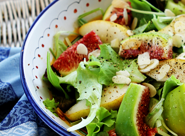 Fresh fall figs and pears combine together in this delicious salad.