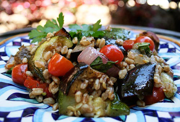 A nutty grain tossed with grilled summer veggies creates this satisfying salad.