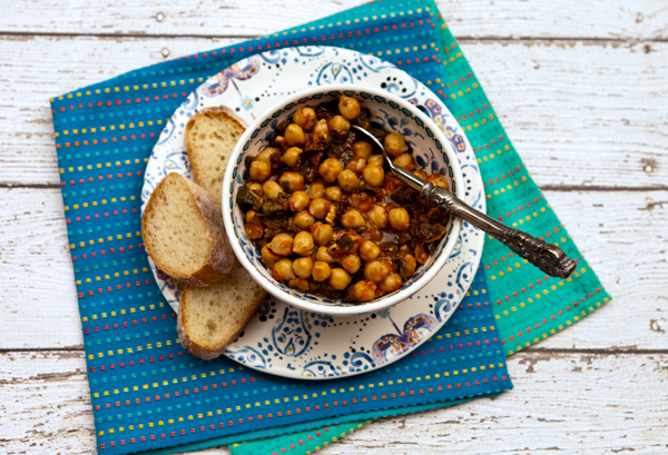 Dried chickpeas are slowly cooked until tender in this rustic recipes.