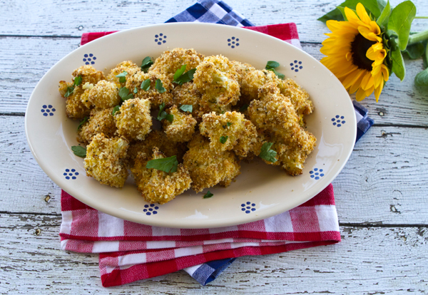 Breaded cauliflower florets are breaded and baked in this unique veggie side dish.