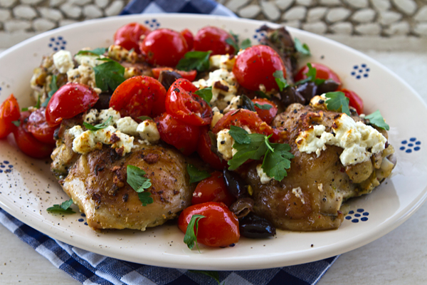 Baked Chicken Thighs With Tomatoes, Olives \u0026 Goat Cheese
