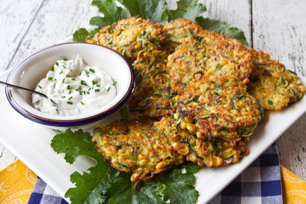 The combination of grated zucchini and corn create very moist and tender cakes.