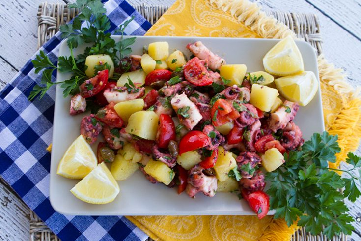 This delicious main course seafood salad was created after enjoying a similar salad in Italy.