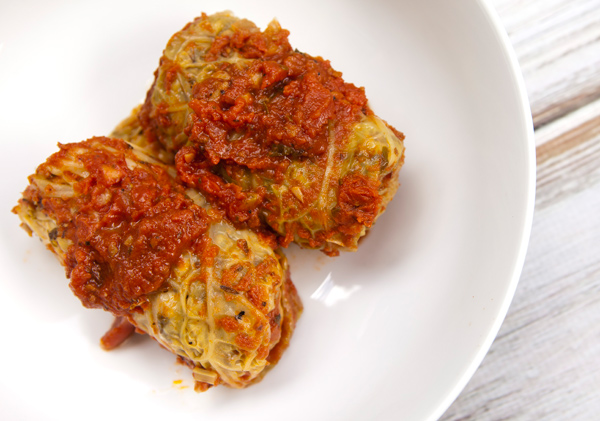 These tender stuffed cabbage rolls combine legumes and b=nutty barley to replace meat.
