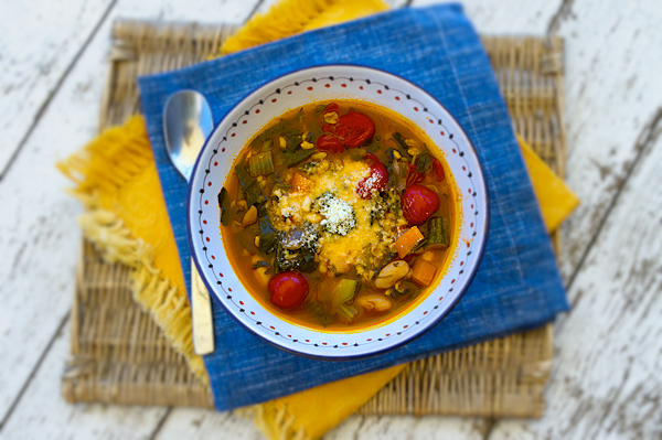 Fresh beans paired with fresh garden vegetables creates a full flavored, satisfying soup.