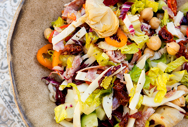 A full flavored Italian American salad that is a complete meal in a bowl.