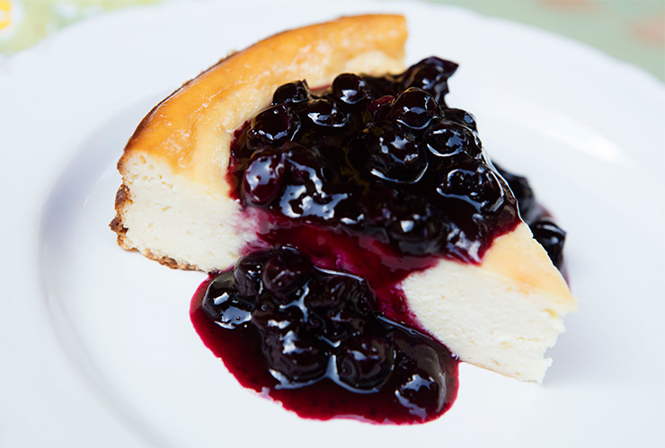 Lemon Pie Cake With Blueberry Compote