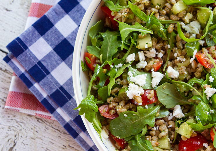 Farro Salad With Tomatoes, Cucumbers, Arugula, & Feta Cheese ...