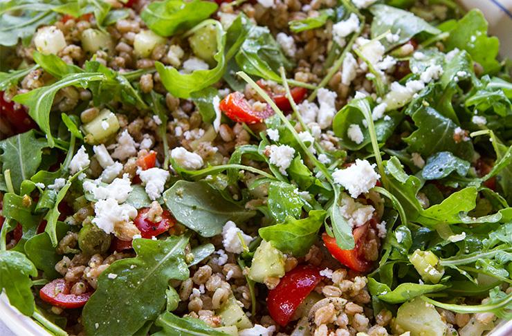 Farro Salad With Tomatoes, Cucumbers, Arugula, & Feta ...