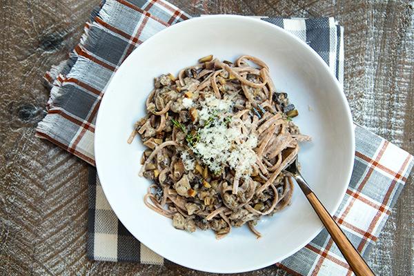 A tasty whole grain pasta dish with a creamy mushroom sauce.