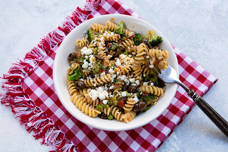 Pasta with Broccoli, Sun-Dried Tomatoes, & Goat Cheese Crumbles