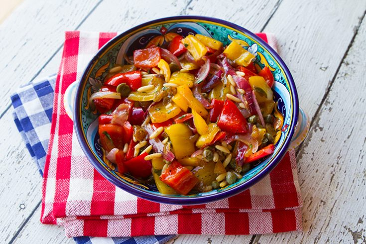 The sweet and sour flavors in this dish work so well with sweet bell peppers.