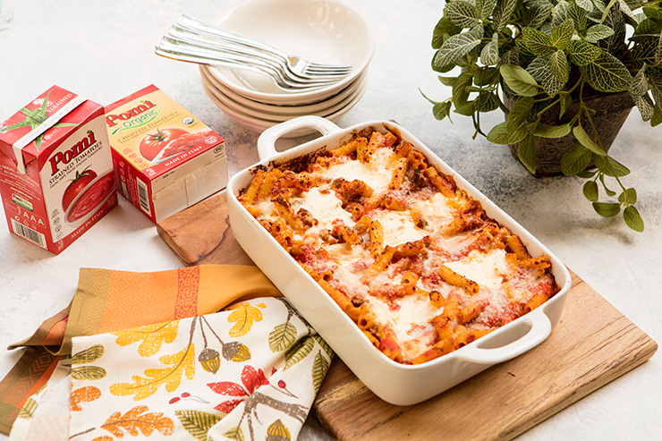 Baked Sausage Ziti With Cheesy Pockets For Pomi Tomatoes