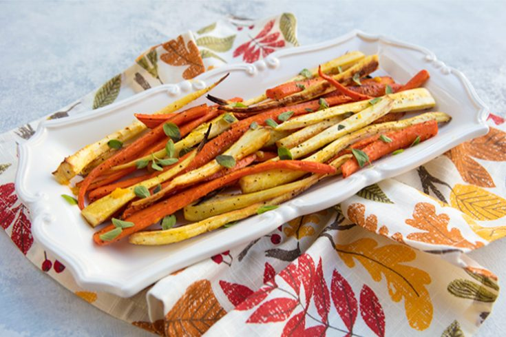 Carrots and parsnips are a perfect combination when roasted.