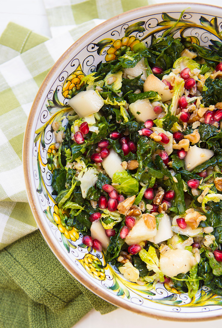Kale, Barley, & Shredded Brussels Sprouts Salad With Pears ...