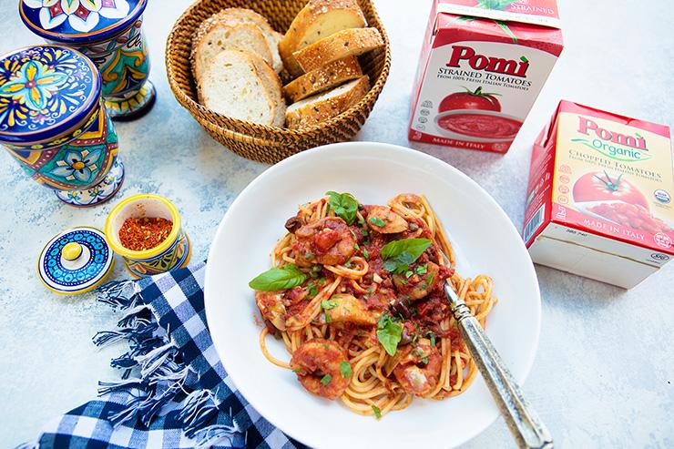 Spaghetti With Shrimp & Artichokes For Pomi Tomatoes