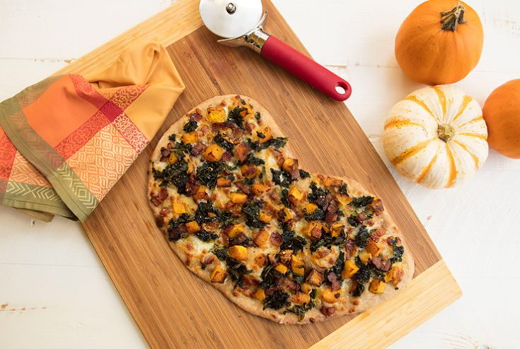 A Fall inspired flatbread that would be perfect for holiday entertaining.