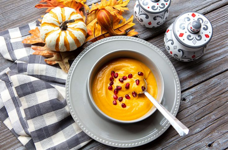 A creamy, lightly spiced squash soup.