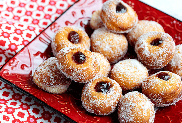 Bomboloni With Jam Filling For Valentine's Day or Carnivale