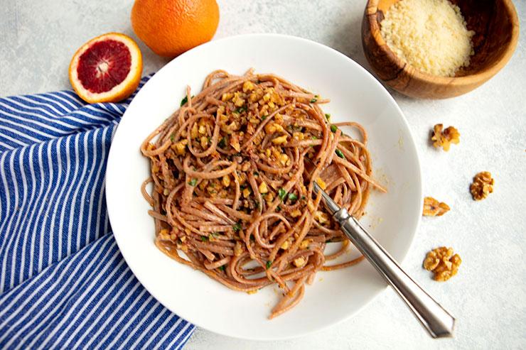 Pasta With Garlic, Chili, Walnuts & Blood Oranges
