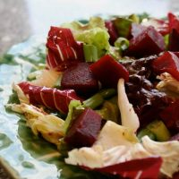 Bitter Greens Salad With Roasted Beets And Orange Vinaigrette